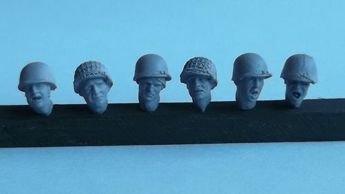 WH35005, 1/35th scale WWII American Heads (6 heads)